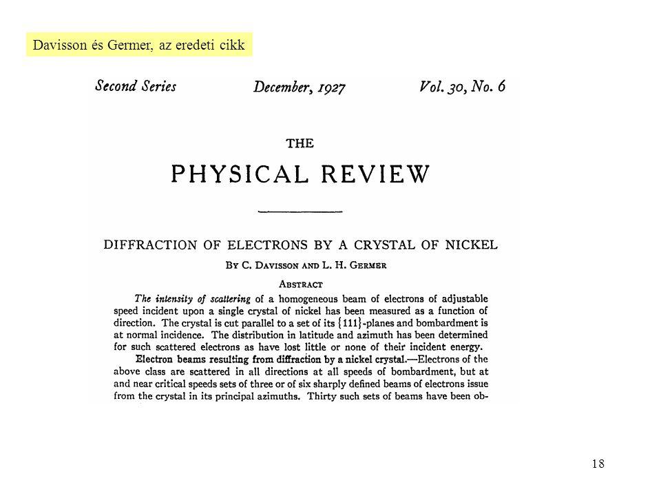 Davisson és Germer, az eredeti cikk