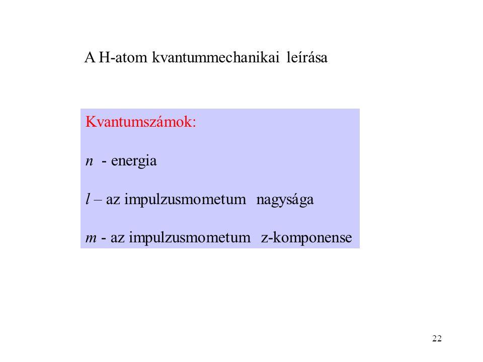 A H-atom kvantummechanikai leírása