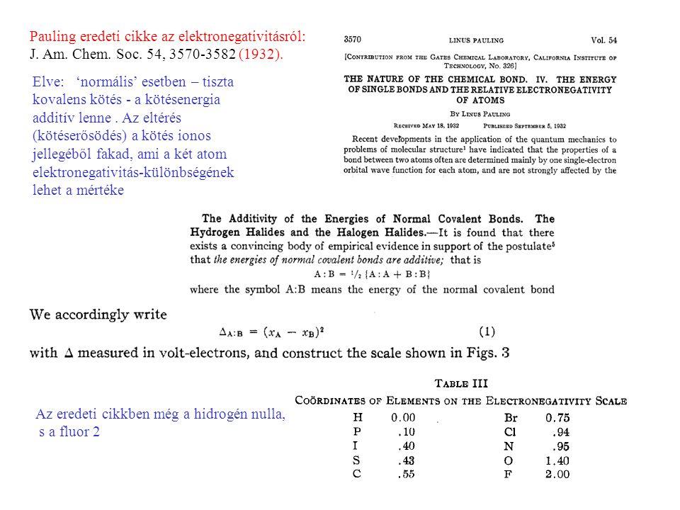 Pauling eredeti cikke az elektronegativitásról: