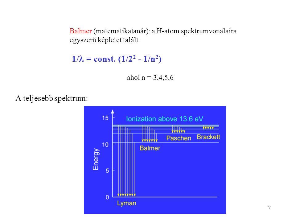 1/ = const. (1/22 - 1/n2) A teljesebb spektrum: