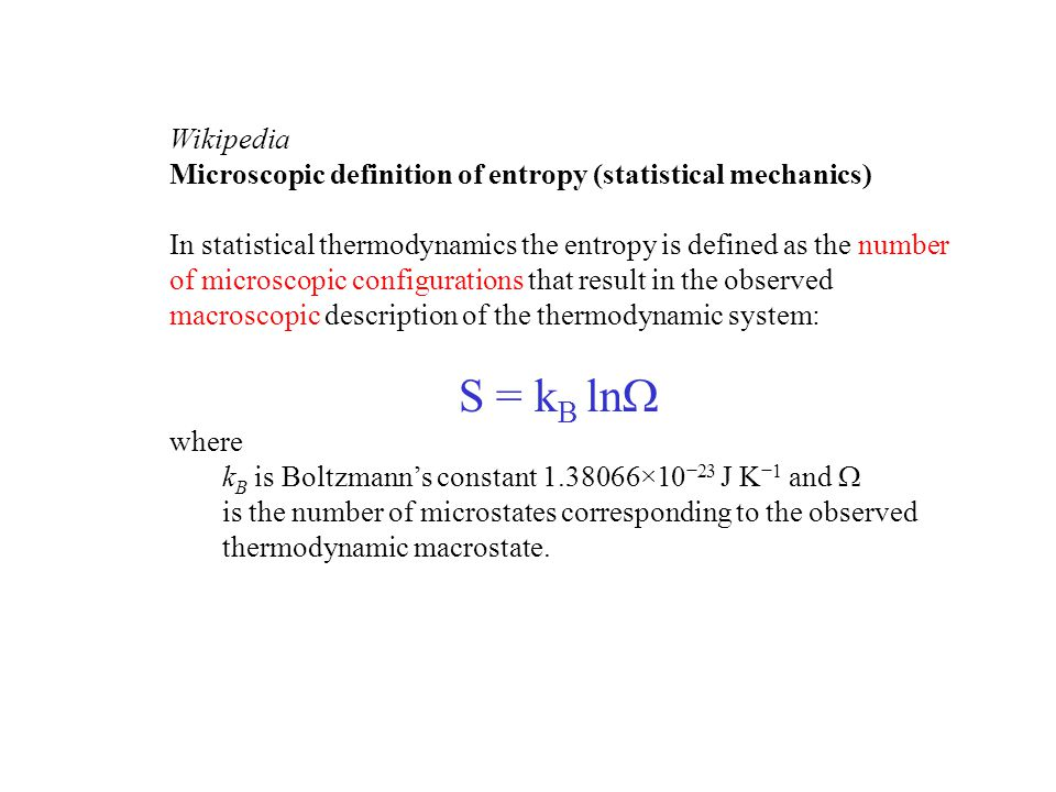 Wikipedia Microscopic definition of entropy (statistical mechanics)