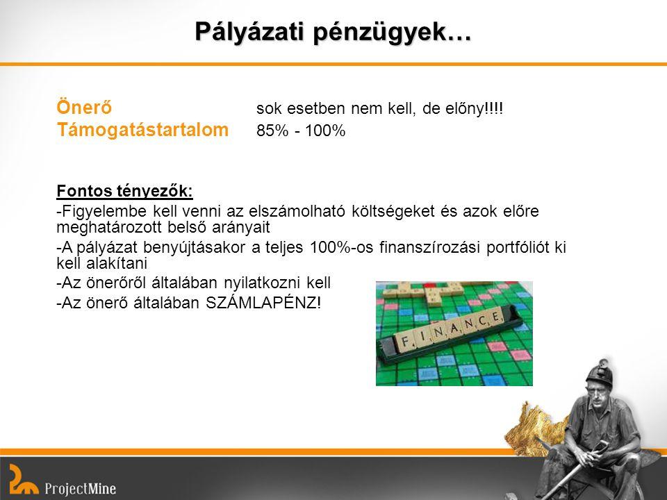Pályázati pénzügyek… Önerő sok esetben nem kell, de előny!!!!