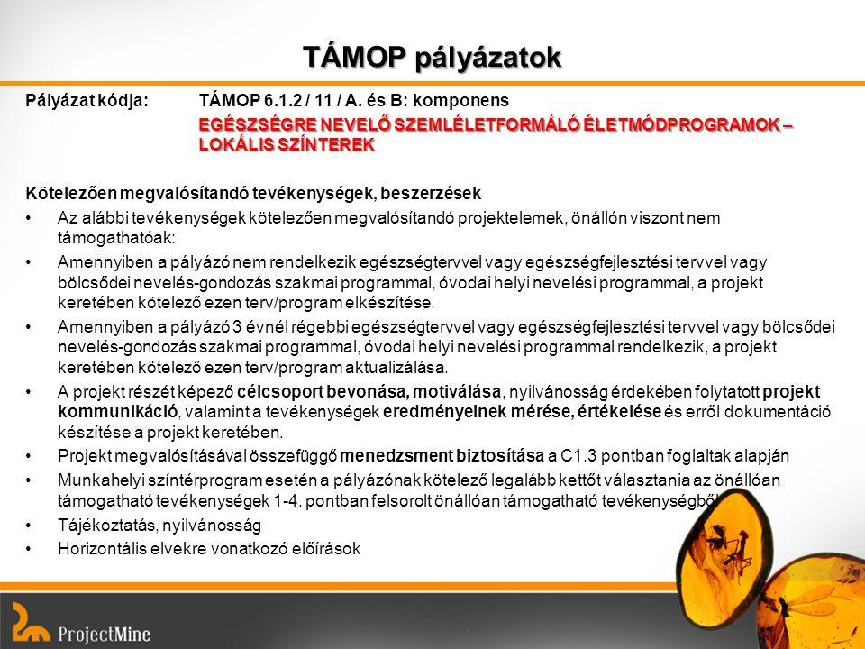 TÁMOP pályázatok Pályázat kódja: TÁMOP 6.1.2 / 11 / A. és B: komponens