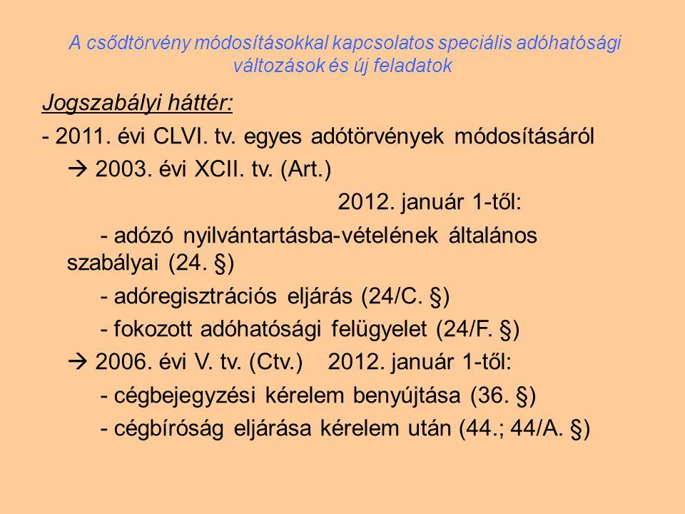 - 2011. évi CLVI. tv. egyes adótörvények módosításáról