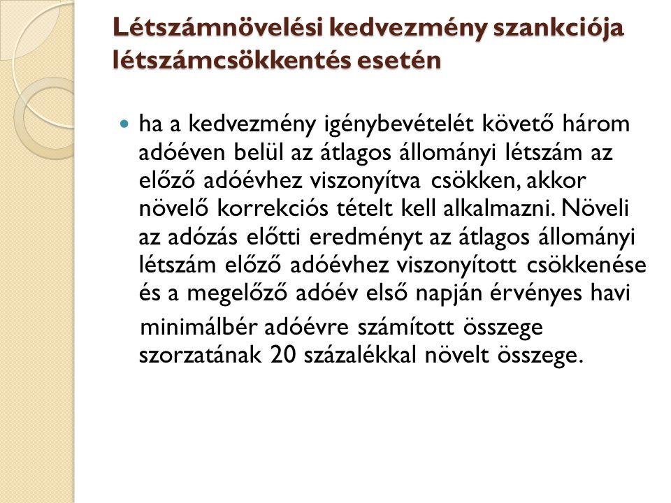 Létszámnövelési kedvezmény szankciója létszámcsökkentés esetén
