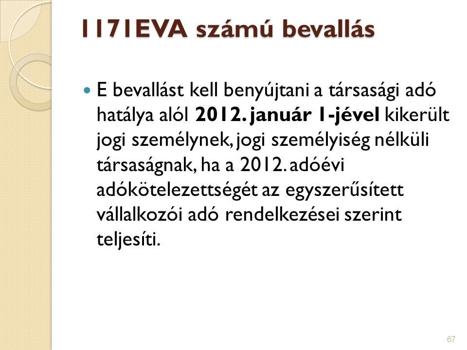 1171EVA számú bevallás