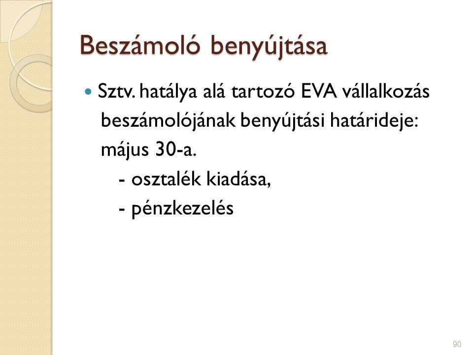 Beszámoló benyújtása Sztv. hatálya alá tartozó EVA vállalkozás