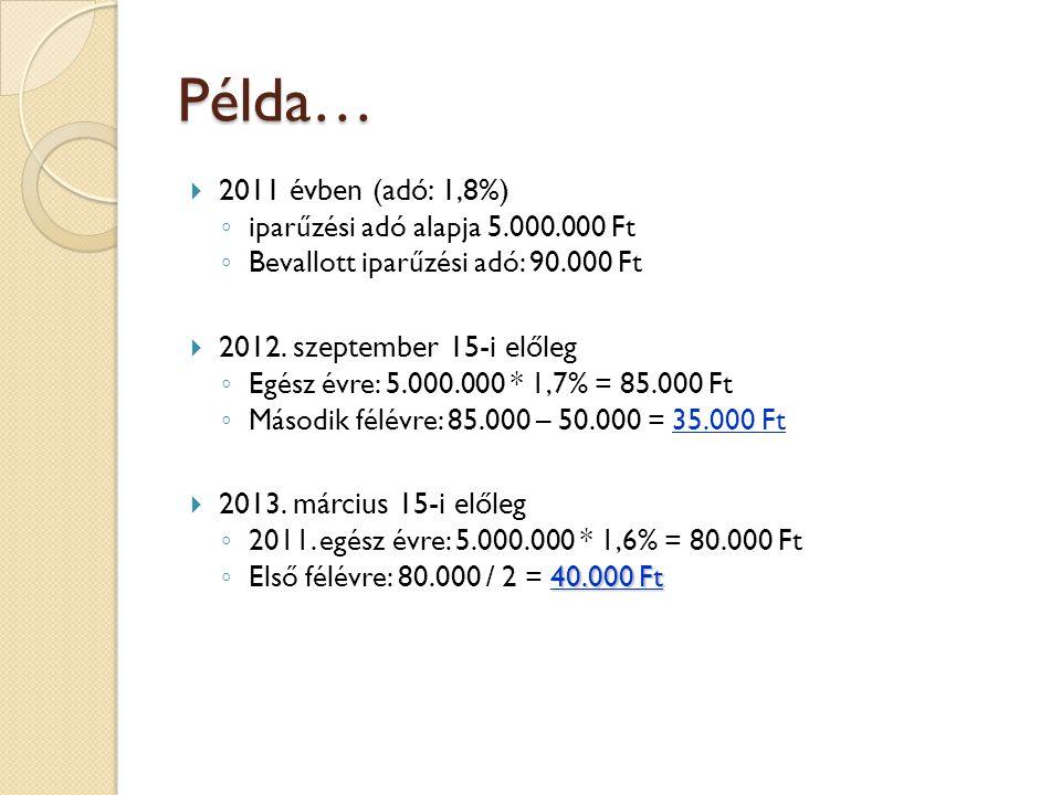 Példa… 2011 évben (adó: 1,8%) 2012. szeptember 15-i előleg
