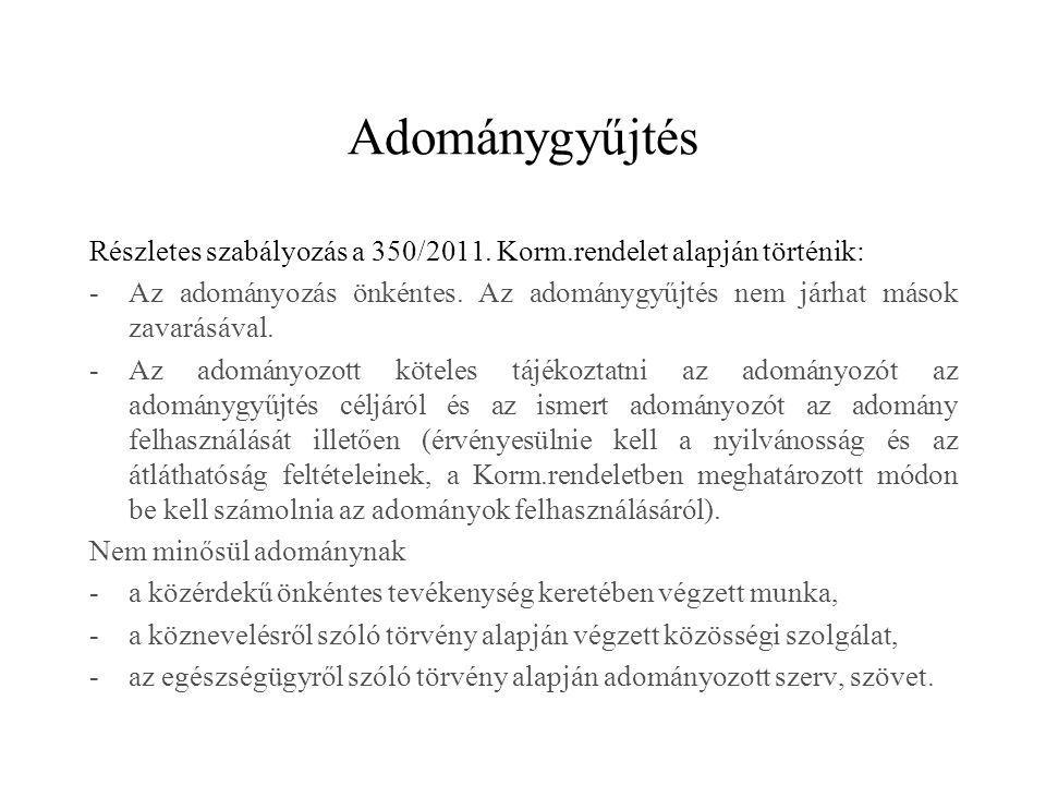 Adománygyűjtés Részletes szabályozás a 350/2011. Korm.rendelet alapján történik: