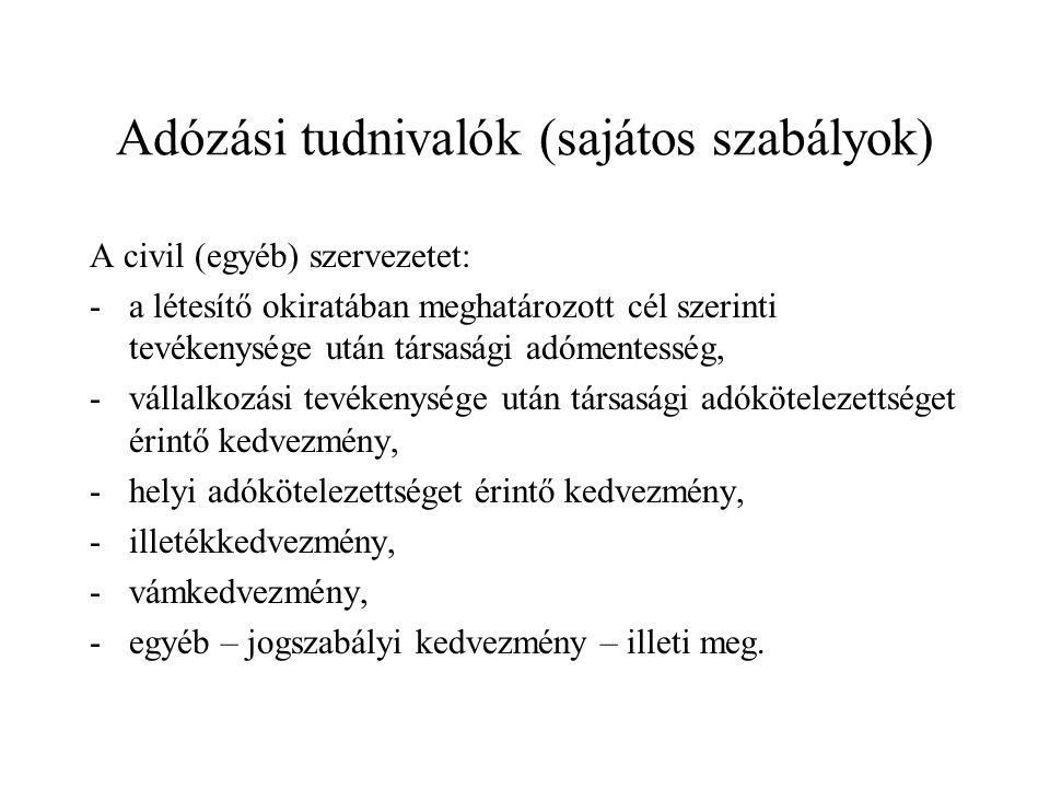 Adózási tudnivalók (sajátos szabályok)