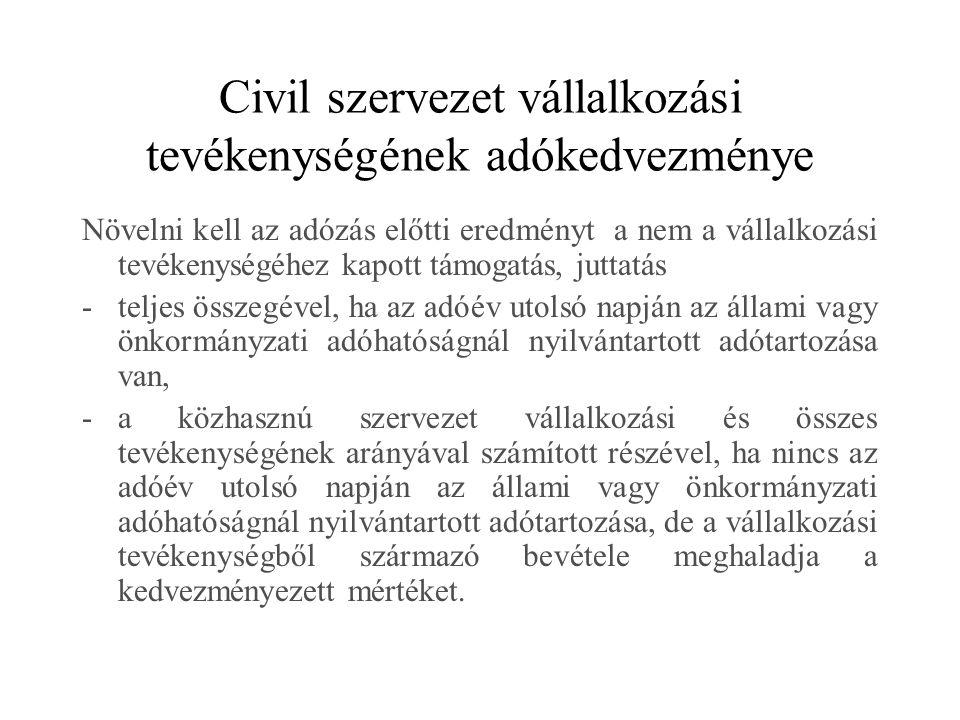 Civil szervezet vállalkozási tevékenységének adókedvezménye
