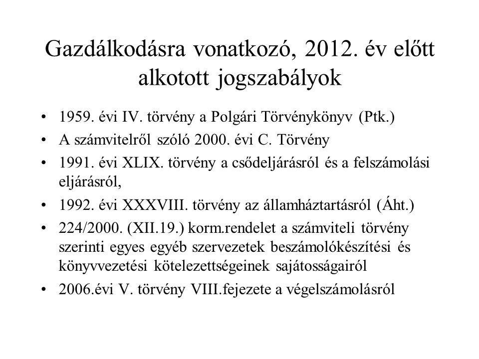 Gazdálkodásra vonatkozó, 2012. év előtt alkotott jogszabályok