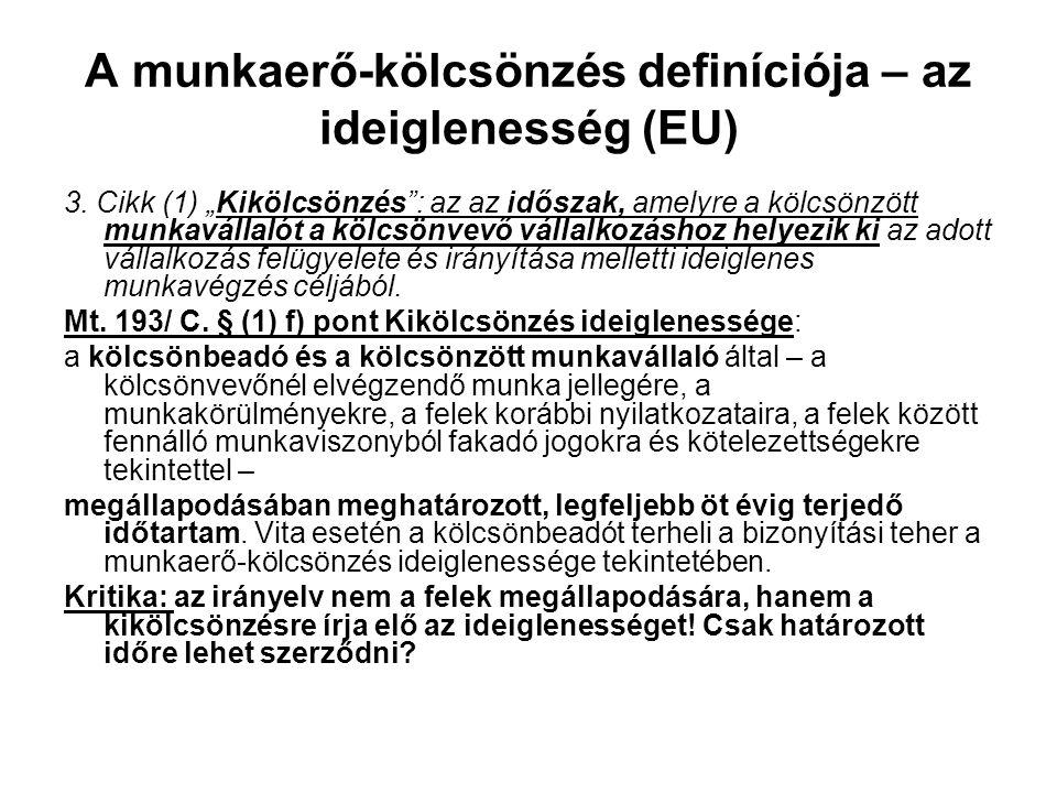 A munkaerő-kölcsönzés definíciója – az ideiglenesség (EU)