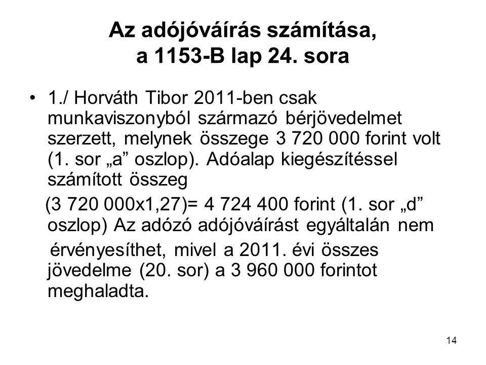 Az adójóváírás számítása, a 1153-B lap 24. sora