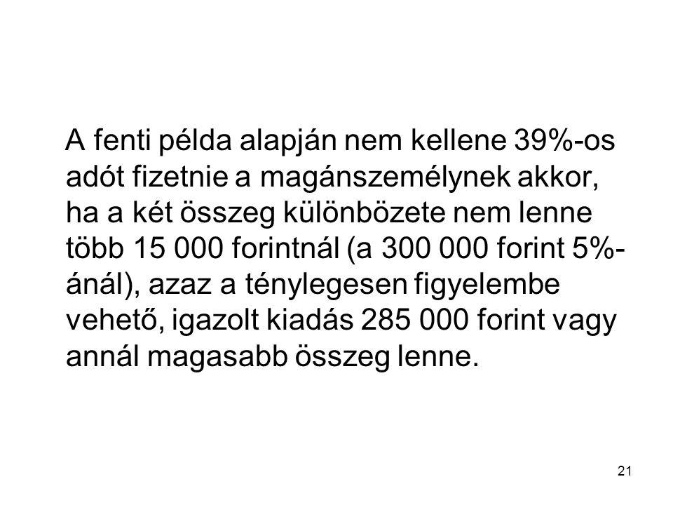 A fenti példa alapján nem kellene 39%-os adót fizetnie a magánszemélynek akkor, ha a két összeg különbözete nem lenne több 15 000 forintnál (a 300 000 forint 5%-ánál), azaz a ténylegesen figyelembe vehető, igazolt kiadás 285 000 forint vagy annál magasabb összeg lenne.