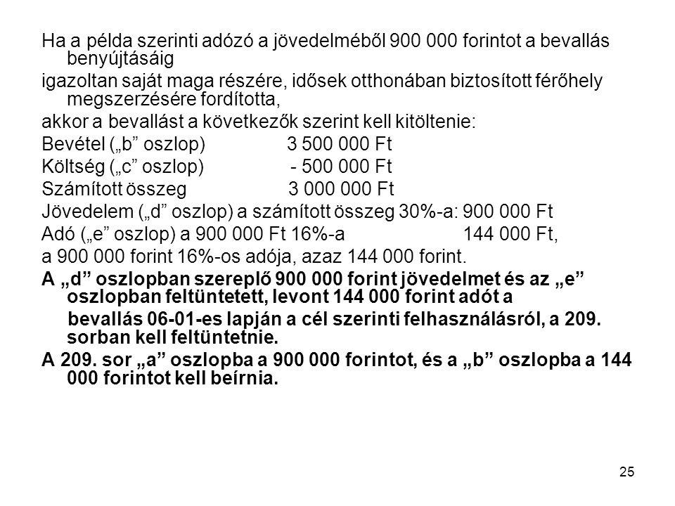 Ha a példa szerinti adózó a jövedelméből 900 000 forintot a bevallás benyújtásáig