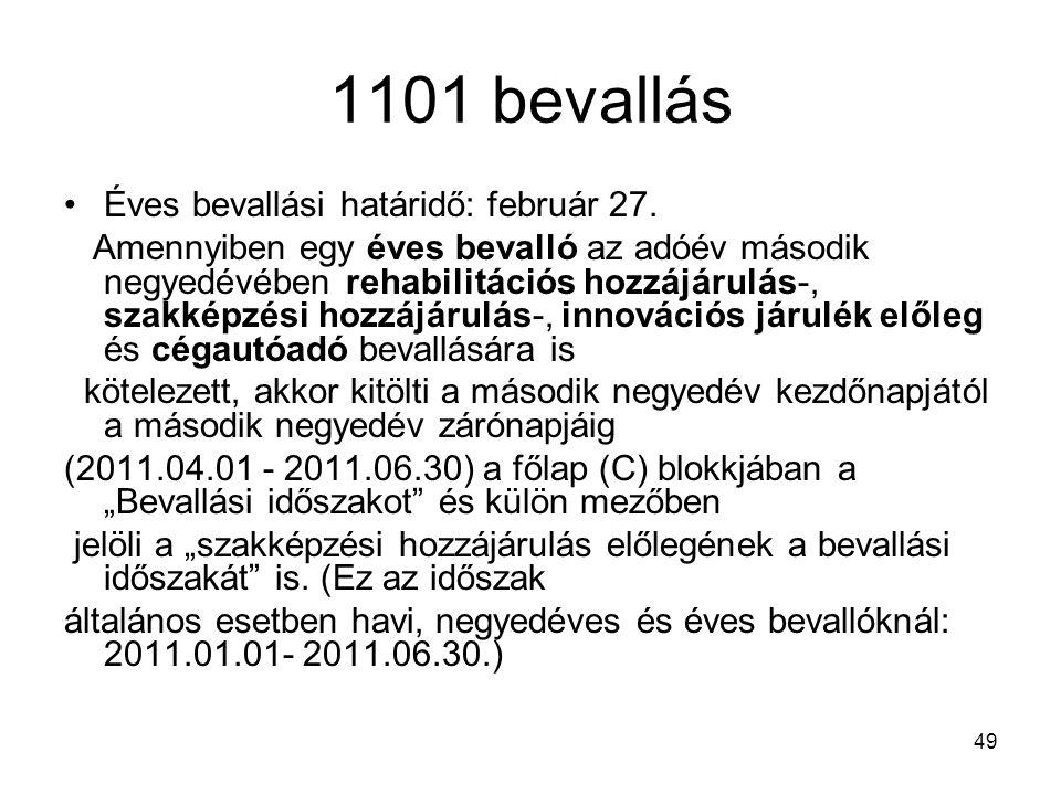 1101 bevallás Éves bevallási határidő: február 27.