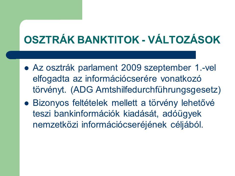 OSZTRÁK BANKTITOK - VÁLTOZÁSOK