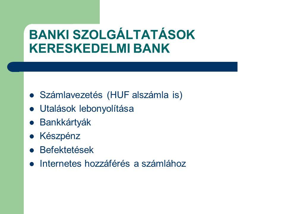 BANKI SZOLGÁLTATÁSOK KERESKEDELMI BANK