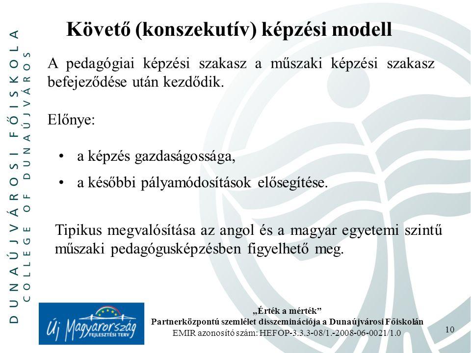 Követő (konszekutív) képzési modell