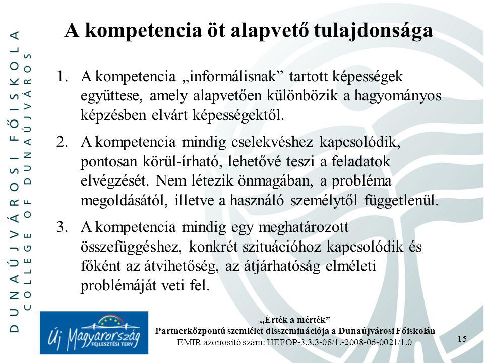 A kompetencia öt alapvető tulajdonsága