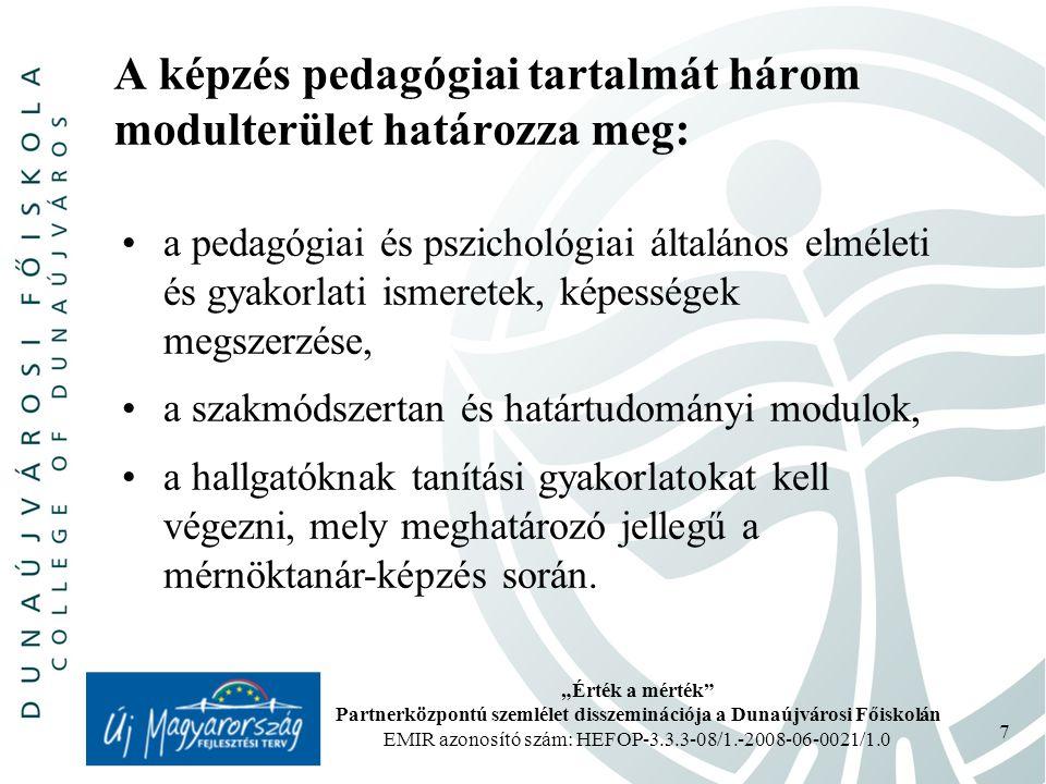 A képzés pedagógiai tartalmát három modulterület határozza meg:
