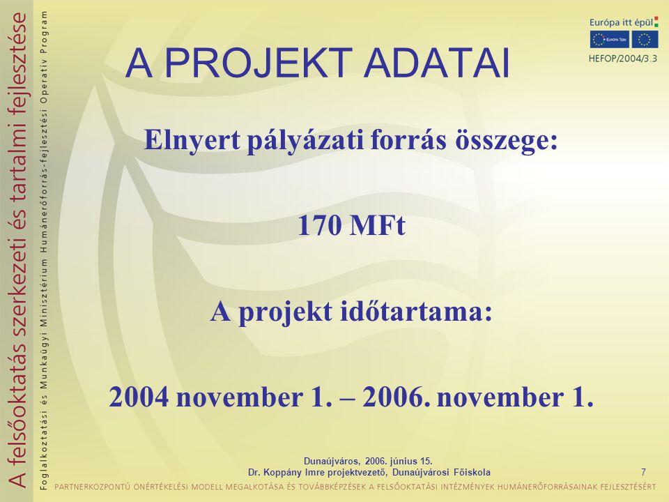 A PROJEKT ADATAI Elnyert pályázati forrás összege: 170 MFt