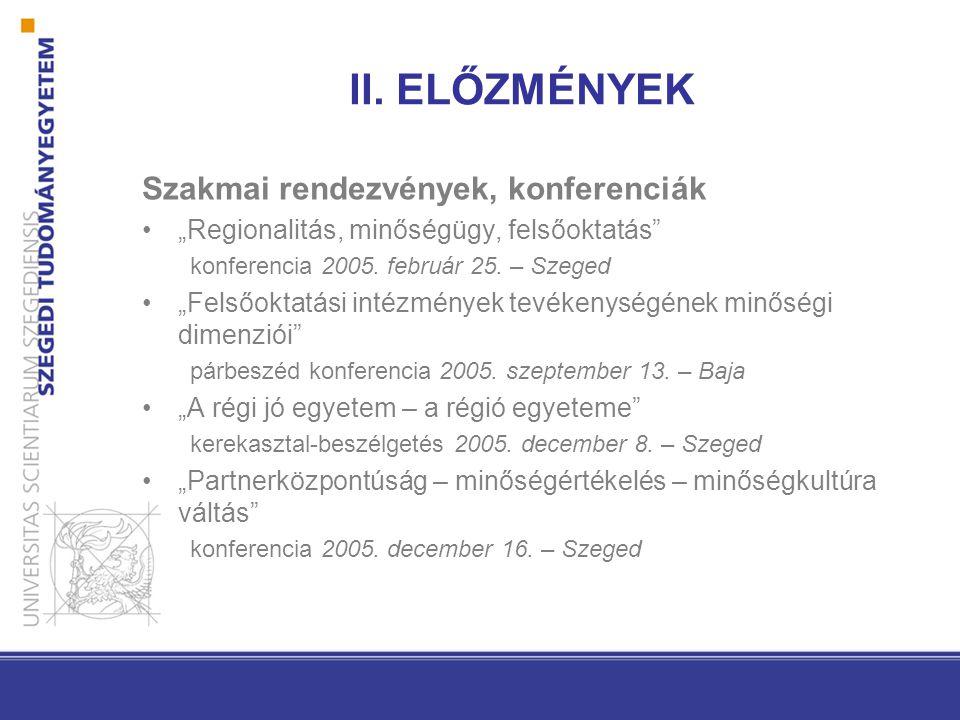 II. ELŐZMÉNYEK Szakmai rendezvények, konferenciák