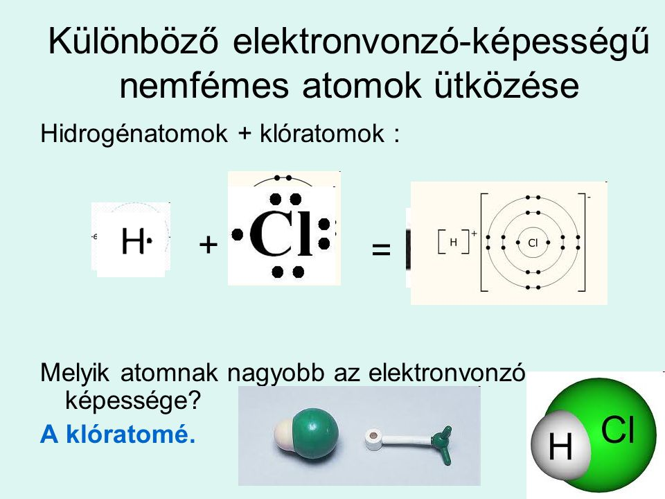 Különböző elektronvonzó-képességű nemfémes atomok ütközése