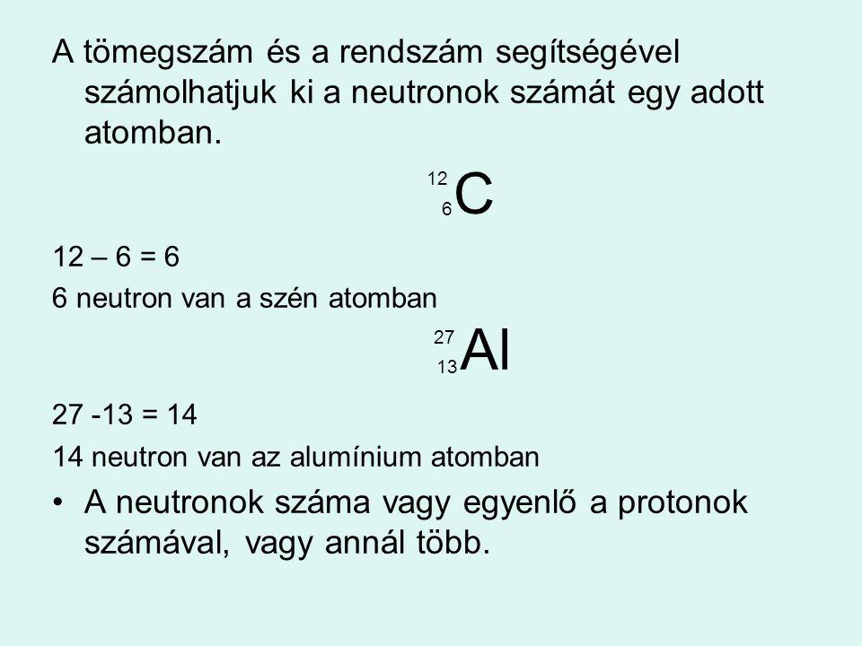 A tömegszám és a rendszám segítségével számolhatjuk ki a neutronok számát egy adott atomban.