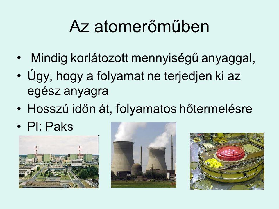 Az atomerőműben Mindig korlátozott mennyiségű anyaggal,