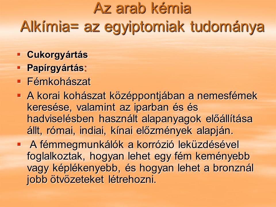 Az arab kémia Alkímia= az egyiptomiak tudománya