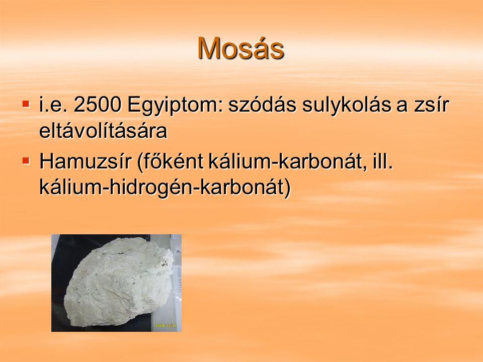 Mosás i.e. 2500 Egyiptom: szódás sulykolás a zsír eltávolítására