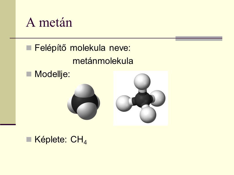 A metán Felépítő molekula neve: metánmolekula Modellje: Képlete: CH4