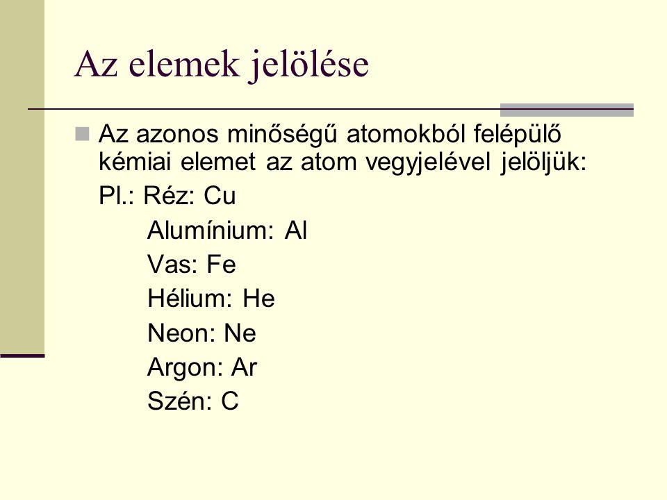 Az elemek jelölése Az azonos minőségű atomokból felépülő kémiai elemet az atom vegyjelével jelöljük:
