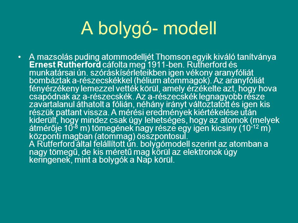 A bolygó- modell