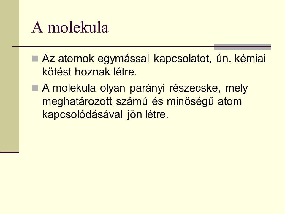 A molekula Az atomok egymással kapcsolatot, ún. kémiai kötést hoznak létre.