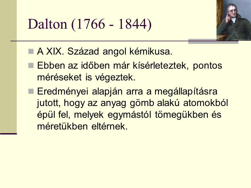 Dalton (1766 - 1844) A XIX. Század angol kémikusa.