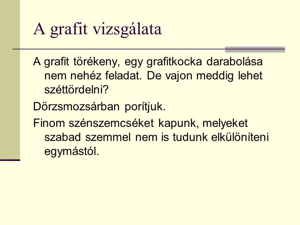 A grafit vizsgálata A grafit törékeny, egy grafitkocka darabolása nem nehéz feladat. De vajon meddig lehet széttördelni