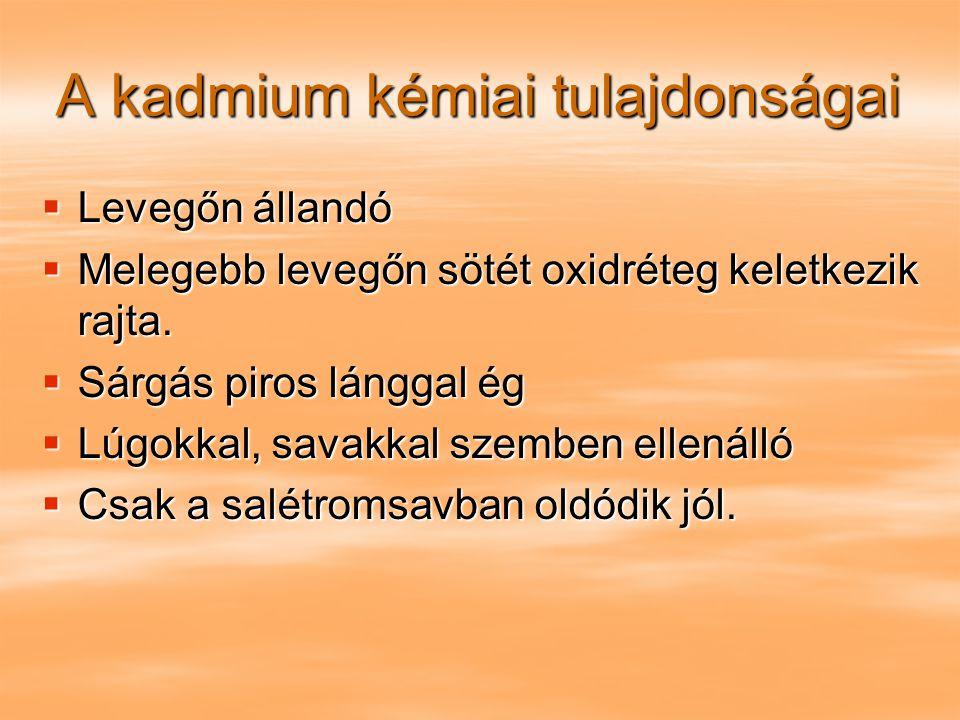 A kadmium kémiai tulajdonságai