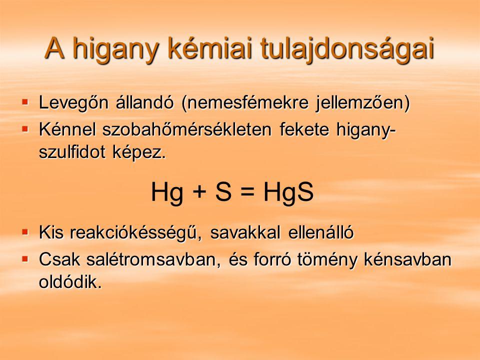 A higany kémiai tulajdonságai