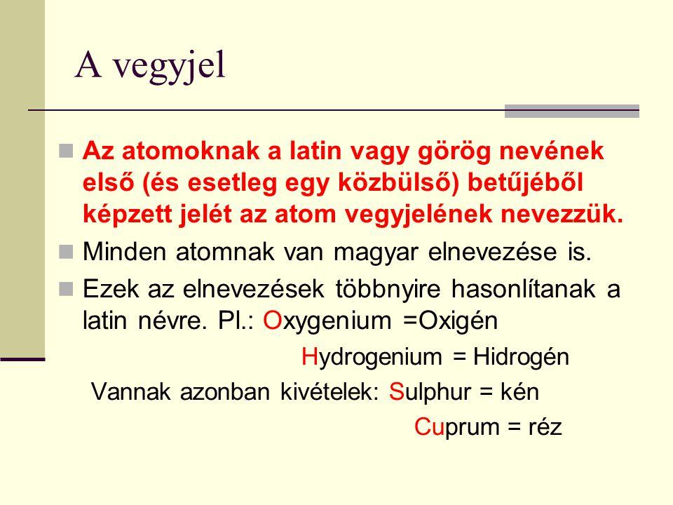 A vegyjel Az atomoknak a latin vagy görög nevének első (és esetleg egy közbülső) betűjéből képzett jelét az atom vegyjelének nevezzük.
