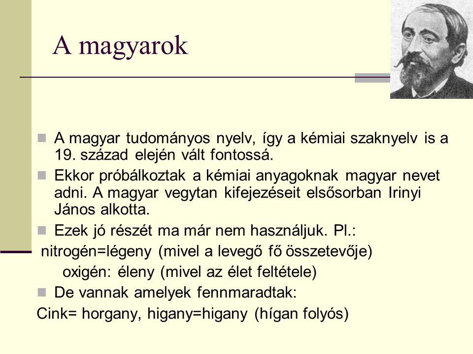 A magyarok A magyar tudományos nyelv, így a kémiai szaknyelv is a 19. század elején vált fontossá.