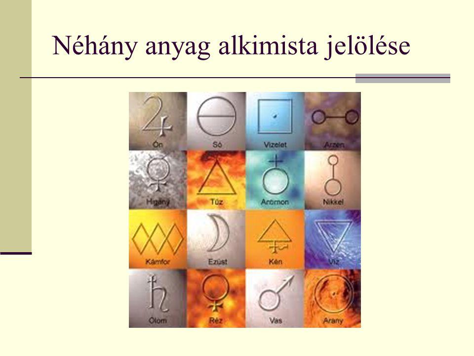 Néhány anyag alkimista jelölése