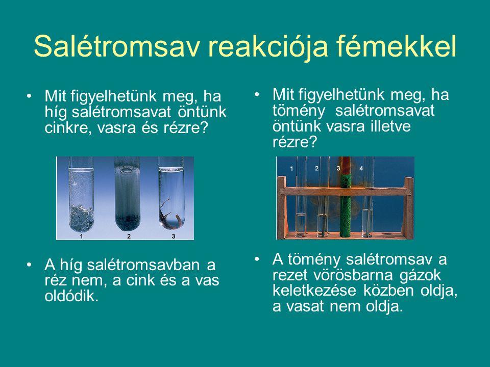 Salétromsav reakciója fémekkel