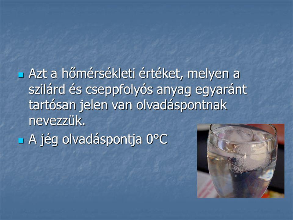 Azt a hőmérsékleti értéket, melyen a szilárd és cseppfolyós anyag egyaránt tartósan jelen van olvadáspontnak nevezzük.