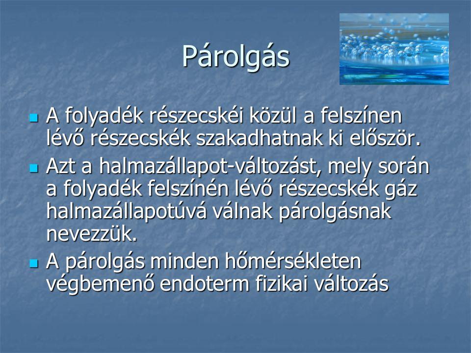 Párolgás A folyadék részecskéi közül a felszínen lévő részecskék szakadhatnak ki először.