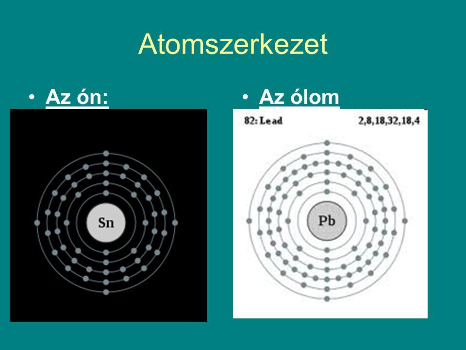 Atomszerkezet Az ón: Az ólom 50 proton 50 elektron 69 neutron