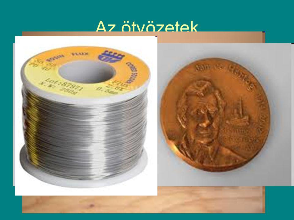 Az ötvözetek Bronz: réz + ón Forrasztóón: ólom+ ón