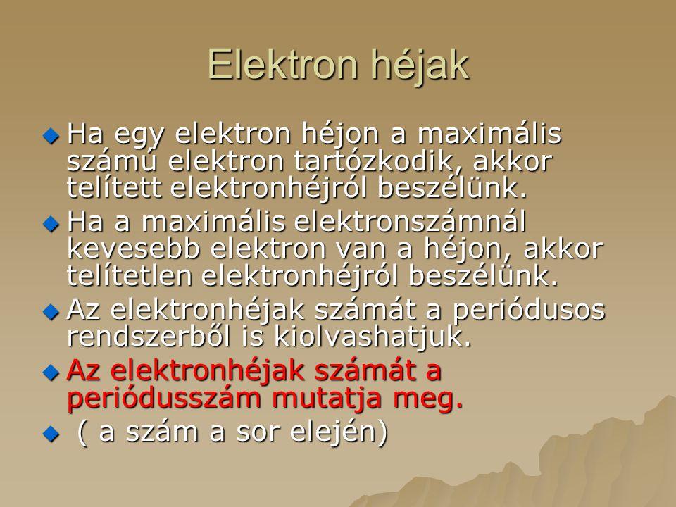 Elektron héjak Ha egy elektron héjon a maximális számú elektron tartózkodik, akkor telített elektronhéjról beszélünk.